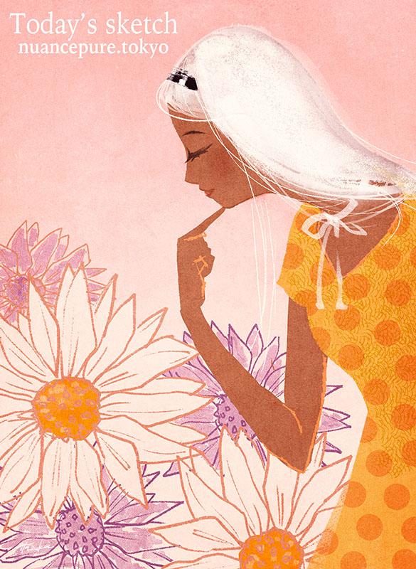 今日のスケッチ。 「夏の白ひまわり。」 小麦色に日焼けした黄色ワンピの女性。私が向日葵よって感じ?w  #スケッチ #ワンピース #女の子 #花 #sketch #art #painting #drawing #Croquis #white
